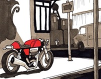 Royal Enfield cafe racer comic