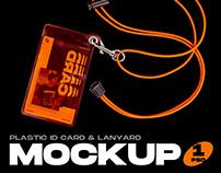 Plastic ID Card & Lanyard Mockup