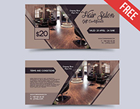 Hair Salon – Free Gift Certificate PSD Template