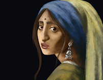 Indian take on Vermeer's Girl with the Pearl Earring