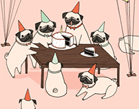 Pug Party Animal Card