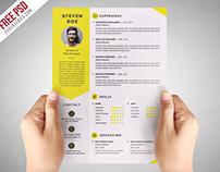 Freebie : Clean Resume CV Template Free PSD
