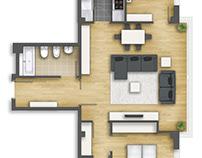 Floor plan 2D rendering im Guipúzcoa.