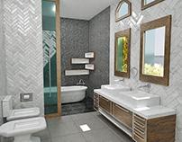 Banheiro com cuba em porcelanato e armário rustico
