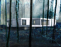 House in light concrete in-between trees, Belgium