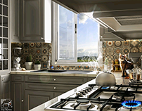 a kitchen with arabian touches is