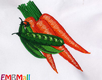 DELECTABLE CARROT AND PEAS EMBROIDERY DESIGN