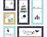 Christmas and New Year's greeting cards flat design set