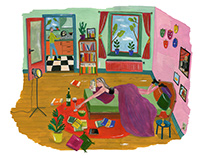 Illustrations about theatre and reading a play at home