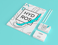 """Brand identity for """"HYDROS"""" engineering company."""
