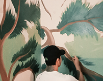 Forest Mural Vector, Jhoanie Hotel