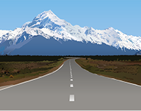 Mountain road illustration, m/w gradients and pen tool