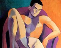orange and violet nude, 2018, 100x80
