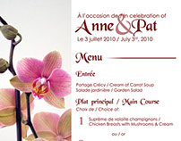 Anne & Pat Wedding Menu