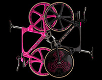 Black facade with gothic feature, 2 bikes & neon sign