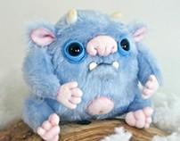 Blue Yeti, fantasy creature, OOAK handmade soft art toy