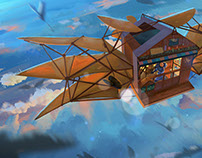 The flying house.