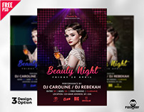 Beauty Night Flyer Template Free PSD