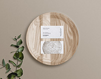 Business Card Mockup on wooden tray