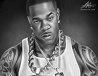 Busta Rhymes Digital Oil Painting by Wayne Flint