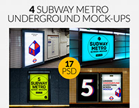 4 Subway Metro Underground Ad Screen Mock-Ups Bundle