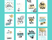 Hand drawn summer cards and banners collection