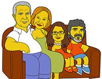 """Ilustración """"Los Perez Sanchez a lo Simpsons"""""""