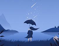 Reflecting in Moondust Rain