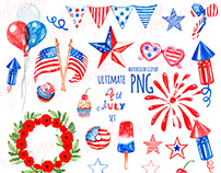 4th of July patriotic clipart, watercolor elements, USA