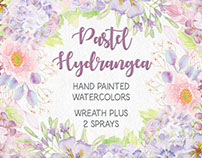 Watercolor wreath of pastel Hydrangeas
