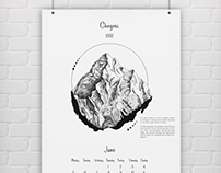 «Mountains» wall calendar and posters