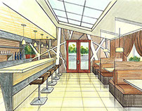 Architectural Drawing of a Restaurant