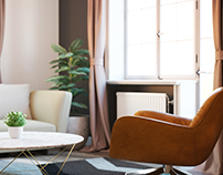 Warm living room corner