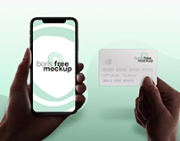 Free PSD holding iPhone and credit card mockup