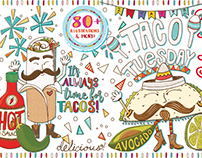 Taco Tuesday, Everyday! Vector Illustrations