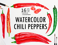 Watercolor Chili Peppers