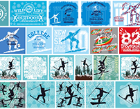 skier graphic design vector art stock images