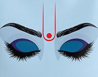 Krishna eyes on blue