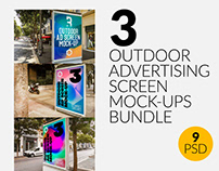 3 Outdoor Ad Screen Mock-Ups Bundle 4