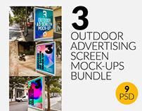 3 Outdoor Ad Screen Mock-Ups Bundle 4
