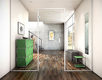 3D Interior with Glass Door and Metal Frames 02