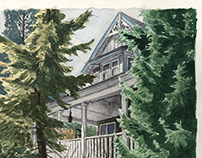 Watercolor of the parent's house.