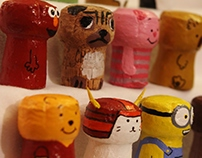 Painted Champagne Corks Characters