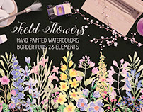 Watercolor border of field flowers plus elements