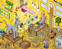 """Show me the money!"" Isometric vector illustration"