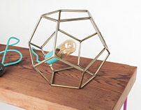 Geometric Light Fixture, Stainless Steel Dodecahedron
