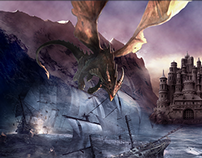 Digital Matte painting , battle of the dragon