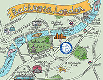 Illustrated map for Battersea Cats & Dogs Home