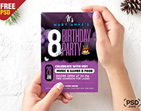 Beautiful Birthday Party Invitation Card PSD