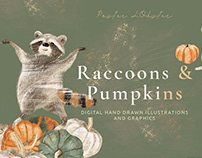Raccoons and Pumpkins Autumn graphic set